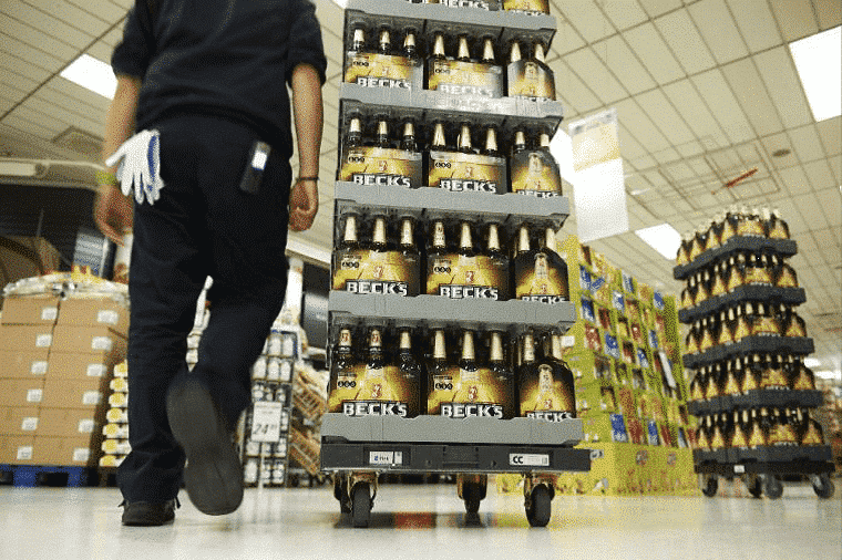 Euro Dolly with beverages in supermarket