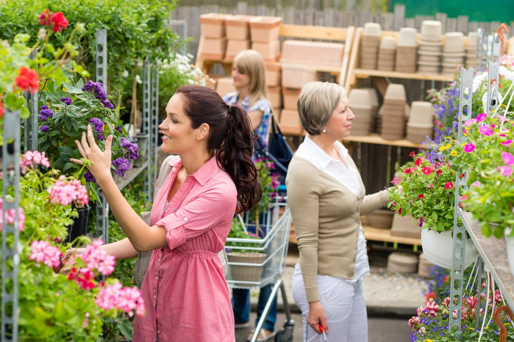 Customer in garden centre looking at flowers at CC Container