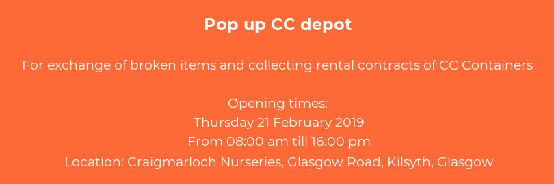 CC pop up depot Craigmarloch Nurseries