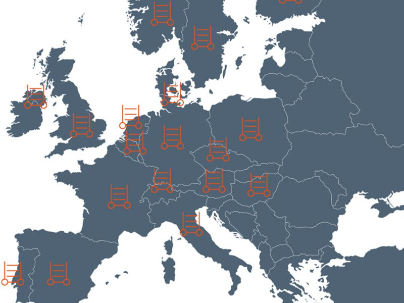 Depot network warehouses logistics depots Europe container centralen trolley cc container base
